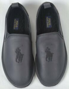 POLO-Ralph-Lauren-Black-Leather-Big-Pony-Slippers-Rubber-Sole-NWT