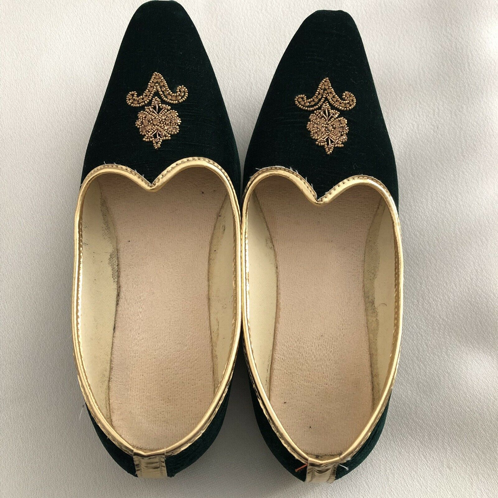 Mens Sherwani shoes   Dark Green Nagra shoes