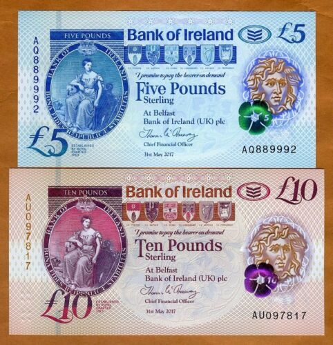 2017 2019 P-New Polymer 5;10 pounds UNC SET Bank of Ireland Northern