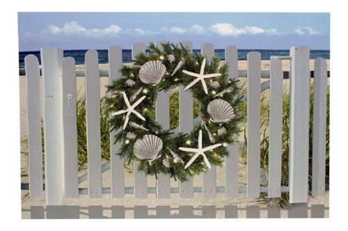 Wall Canvas Seashell Starfish Wreath Beach LED Light Up Nautical Christmas NEW