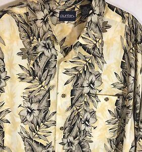 Aloha-Hawaiian-Shirt-Hibiscus-Palm-Large-short-sleeve-shirt-100-Rayon
