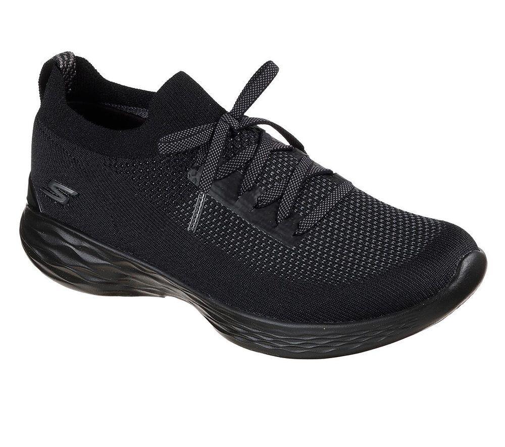 NUOVO Skechers scarpe da il ginnastica da donna per il da tempo libero Scarpe Scarpe Sportive you-SHINE NERO 21cf93
