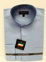 Daniel Ellissa Banded Nehru Collar Men's Dress Shirts Light Blue Size 15.5- 19.5