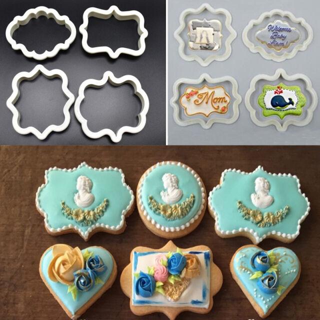 4pcs Plaque Frame Plate Cookies Cutter Fondant Cake Decor Mold Icing Sugarcraft & 4pcs Plaque Frame Plate Cookies Cutter Fondant Cake Decor Mold Icing ...
