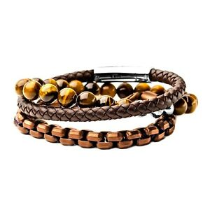bd031e5e40def Details about INOX Tiger Eye Beads, Chain & Leather Stackable Men's  Bracelets Set 8.5