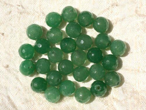 Jade Boules Facettées 8mm Vert Emeraude Perles de Pierre Fil 39cm 46pc env