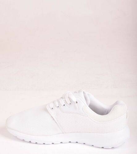 Mens Lace Up Trainers Walking Gym Running Light Weight Jogging White Shoes Size