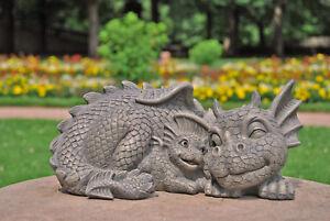 Drachen-Mama-Drachenbaby-Drache-Figur-Gargoyle-Garten-Fantasy-Suess-Drachenfiguren
