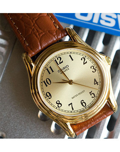 Casio MTP-1096Q-9B1 Mens Gold Analog Quartz Watch Leather Band Brown Casual New
