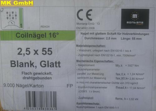 1 Paket 9000 Stück blank Glatt Original Montana Coilnägel ø 2,5 x 55 mm