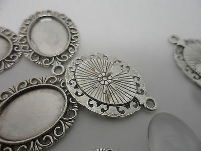 NEW 10 x  Vintage Retro~Antique Silver Pendant/Earring Making Set, 18x13mm Tray