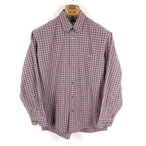Lacoste-Hemd-Herren-Gr-40-L-Rot-Grau-Weiss-Kariert-Button-Down-Langarm-Shirt