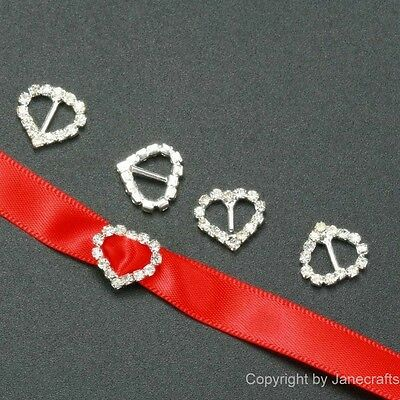 50 x 13mm small heart Rhinestone Buckle Invitation Ribbon Slider Wedding Supply