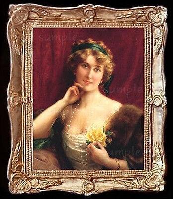 2Pcs//Set Dollhouse Miniature Victorian Gentleman Lady Picture Oval Photo Fr-SN
