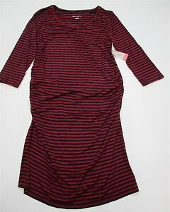 LIZ-LANGE-MATERNITY-Dress-Women-039-s-Size-L-Fitted-Red-Striped-Bodycone-New