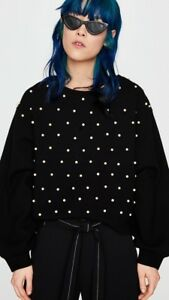 Sweater Puff Bnwt Size Zara Sleeve Pearl Uk Black Jumper L xBwqO7IR