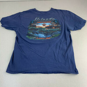 Harley-Davidson-T-shirt-Mens-Large-Orlando-Florida-Gator-Graphic-Blue-Short-Slv