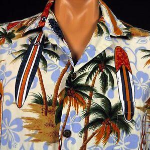 fc89add86 Image is loading Aloha-Republic-Hawaiian-Shirt-Surfboards-Palm-Trees -Diamond-