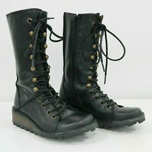 6da5aa832e195 Fly London Combat Boots Womens Tall US 5.5 EUR 36 Black Leather Mid ...