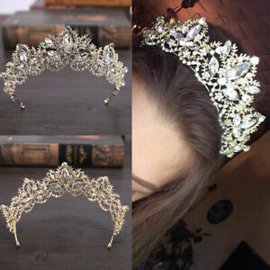 Bride-Baroque-Luxury-Crystal-AB-Bridal-Crown-Tiaras-Tiara-Light-Gold-Diadem-V2V9
