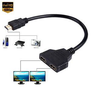 1080p hdmi splitter 1 hdmi auf 2 hdmi buchse verteiler adapter kabel 6000000120566 ebay. Black Bedroom Furniture Sets. Home Design Ideas