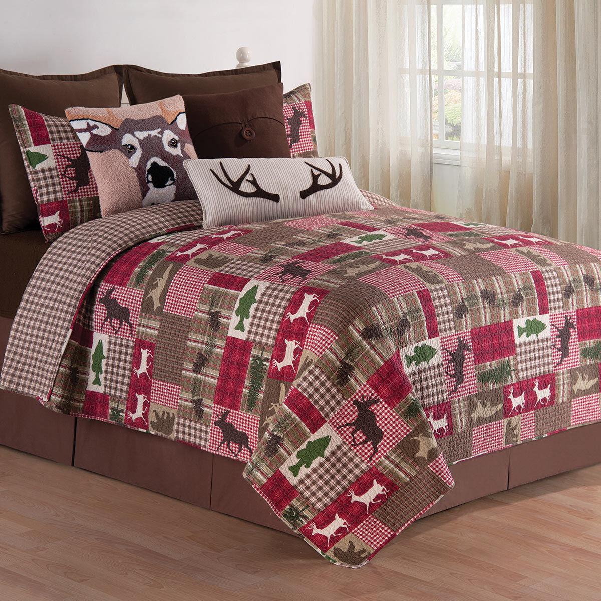 100% Cotton Rustic Wildlife Patchwork Cabin King Queen Full 3 pcs Quilt Set New