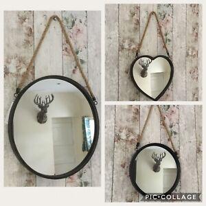 metal frame port mirror hanging rope round vintage retro gisela
