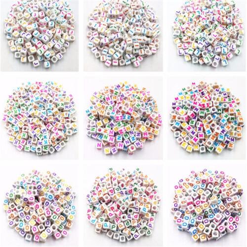 "500-2000PCS 7mm /""A-Z/"" Cube Acrylic Letter Beads Square Bracelet Jewelry Bead DIY"