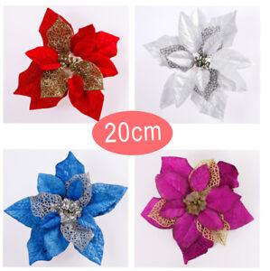 20CM-Festa-di-Natale-Poinsettia-Fiore-Glitter-Oro-MOLLETTA-decorazione-in-piu