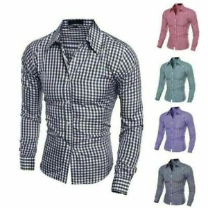 Luxury-Stylish-Mens-Casual-Shirts-Long-Sleeve-Check-Slim-Fit-Dress-Shirts-Tops