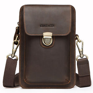 Men-039-s-Genuine-Leather-Waist-Fanny-Bags-Chest-Shoulder-Bag-Crossbody-Satchel-Pack