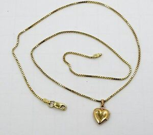 Sleek-14K-Yellow-Gold-Box-Link-Necklace-and-Gold-Brushed-Heart-Locket-A19