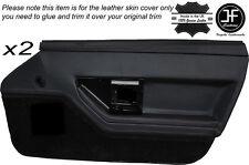 BLACK STITCH 2X FRONT DOOR CARD TRIM LEATHER SKIN COVER FITS CORVETTE C4 84-90