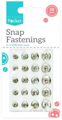 20pc Snap Fermeture par Poppers Fasteners Press Rivets 7 mm 8 mm 10 mm 12 mm à coudre Sew