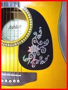 acoustic guitar pickguard scratchplate self adhesive silver flower design ebay. Black Bedroom Furniture Sets. Home Design Ideas