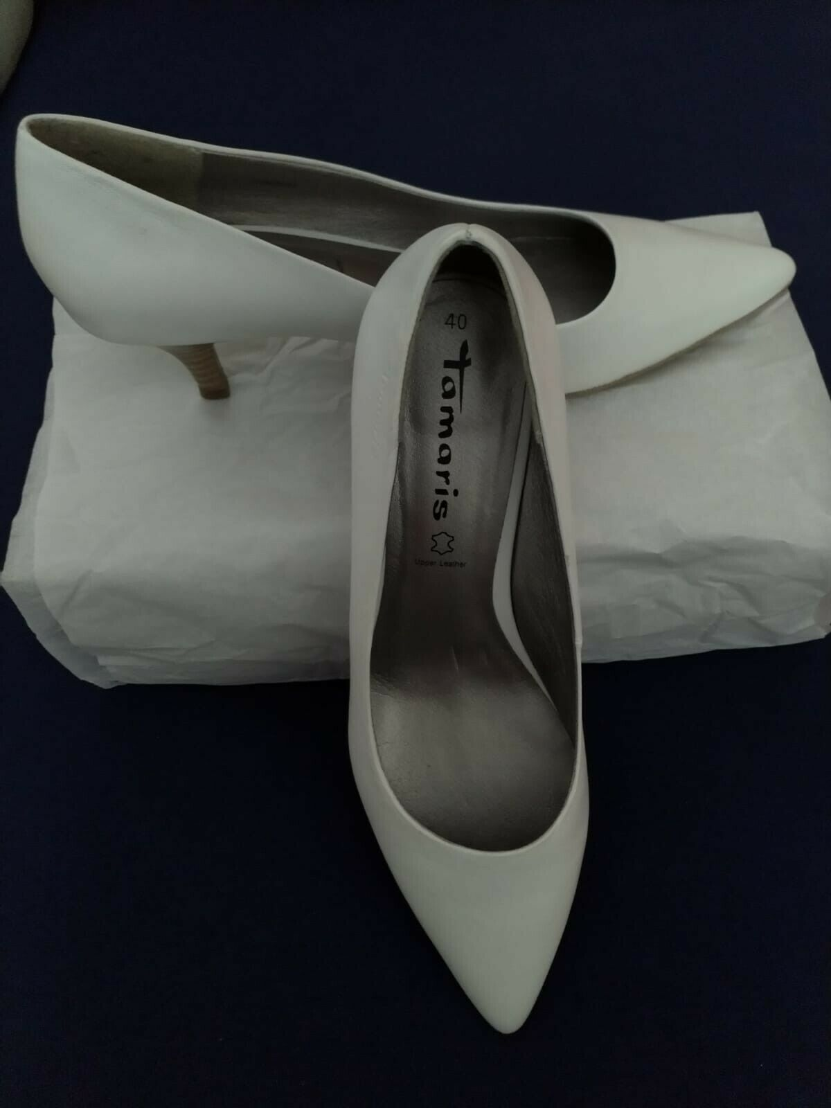 Elegant White Bridal Shoes, Pumps, Medium Heel, Womens, Size 40