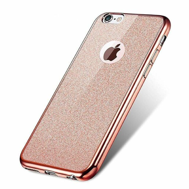 Rose Gold Bling Glitter Detachable Ultra Thin Soft Gel TPU Case For iPhone 6 6S