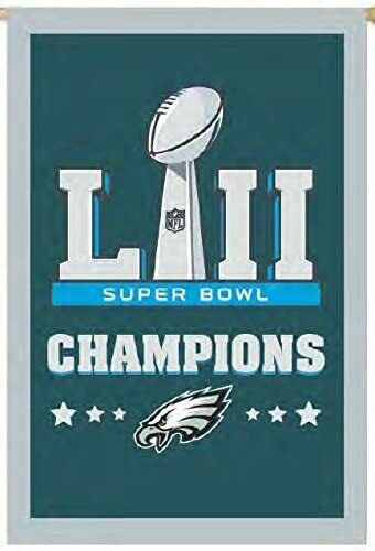 """Large Double Sided Embroidered Philadelphia Eagles Super Bowl 28/""""X44/"""" House Flag"""
