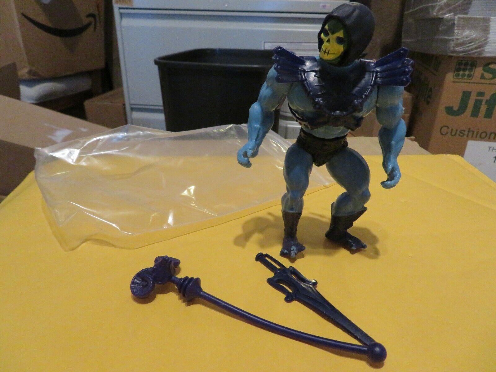 Vintage Amos del universo He-man Skeletor suave cabeza figura Mattel 1983 casi completa