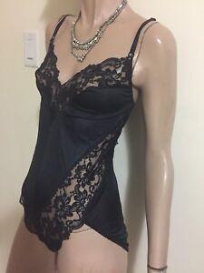 Vintage-Vogue-Bra-Fancy-Lace-Sexy-Snap-Crotch-Teddy-Romper-Lingerie-Size-34