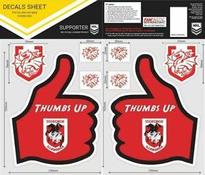 NRL St George Illawarra Thumbs Up Decal Sticker Car Tattoo iTag