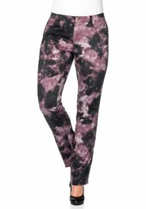 Sheego-donna-jeans-elasticizzati-pantaloni-stampa-allover-Chino-Nero-Viola