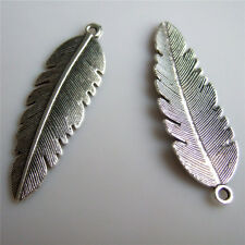 10pcs Antique Silver Feather Charm Pendants Necklace Findings For Jewelry Making