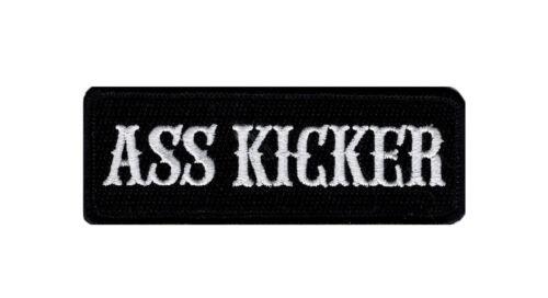 WHT//BLK ASS KICKER MC OUTLAW EMBROIDERED IRON ON BIKER PATCH 4 X 1.5