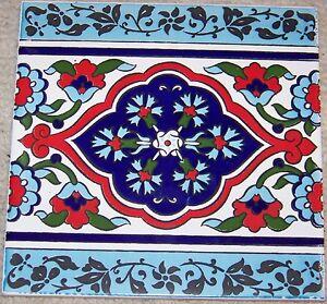 "Set of 8 8/""x8/"" Defective Turkish Blue /& White Iznik Floral Pattern Ceramic Tile"