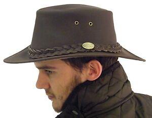 pelle-cappello-nuovo-originale-classico-Australiano-BUTE-cespuglio-Marrone