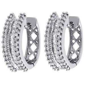 10K-White-Gold-Baguette-Diamond-3-Row-Hoops-Ladies-Huggie-Earrings-0-50-Ct