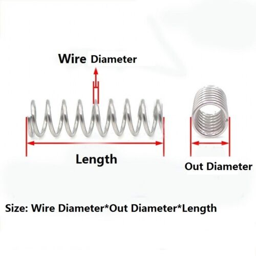 5pcs Wire Dia.0.5-1.5mm Length 60-100mm 304 Stainless Steel Compression Spring