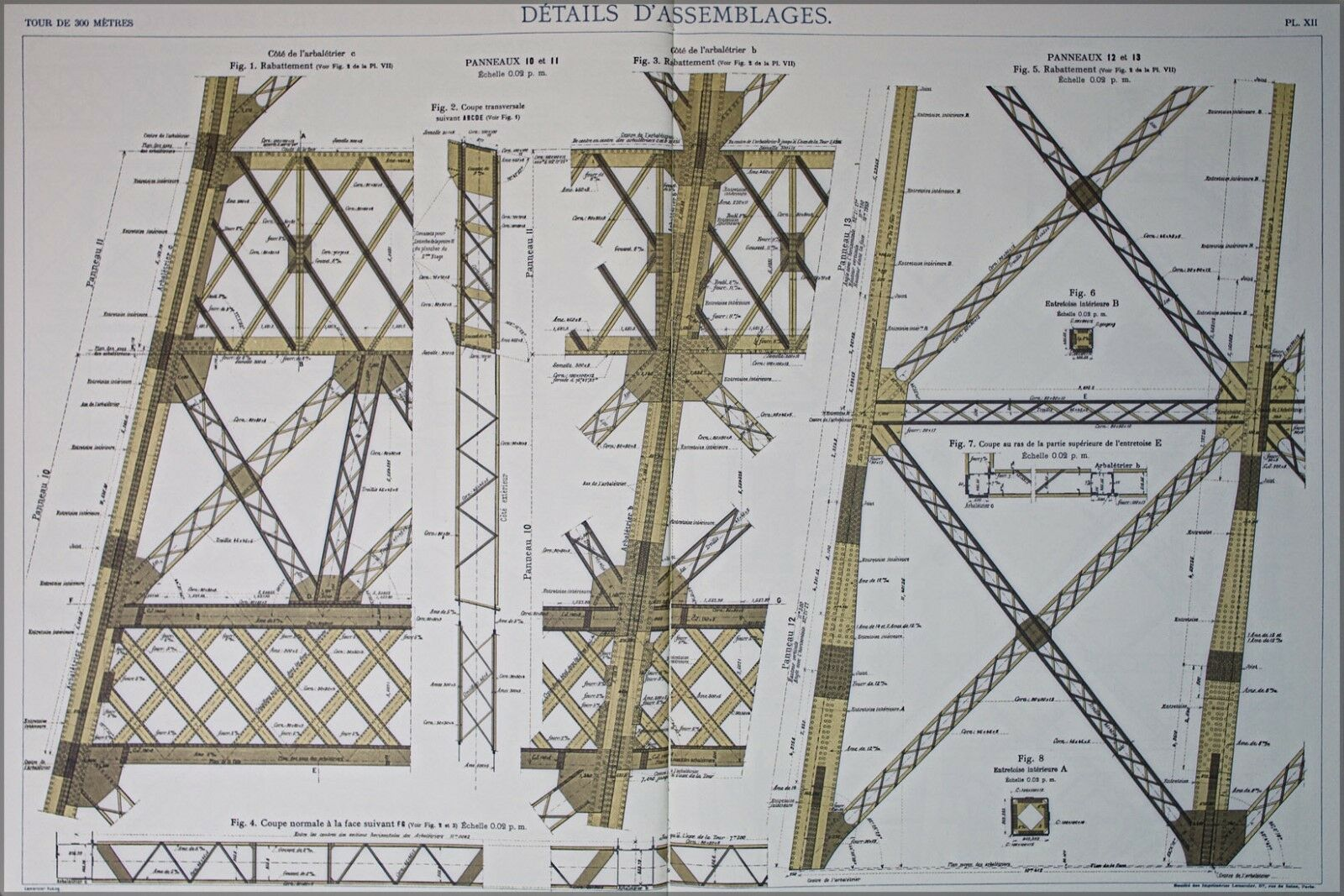 Poster, Many Größes; Eiffel Tower Plans 14