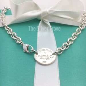 Please Return To Tiffany & Co Sterling Silver Oval Tag Choker Necklace